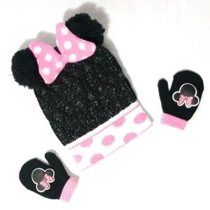 Disney Girls Minnie Mouse Bow Beanie Mitten Set
